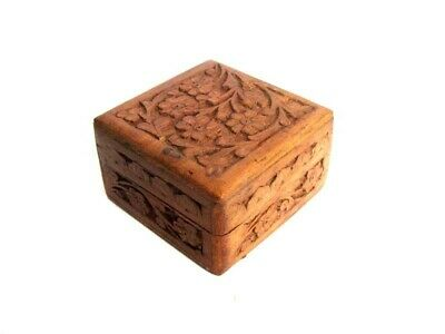 Old Small Jewelry Wooden Hand Carved Box with Lava Volcanic Rock Vintage Gift