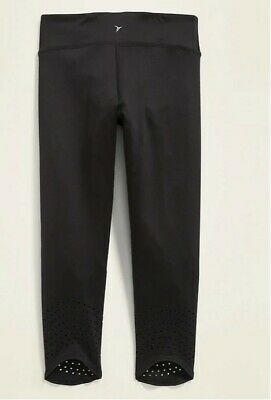 NWT Old Navy Mid-Rise Go-Dry BLACK Perforated Cropped Leggings for Girls XL 14