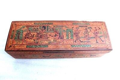 Burmese Jewellery Box Cane Straw Stick Vintage Printed Collectibles D-87