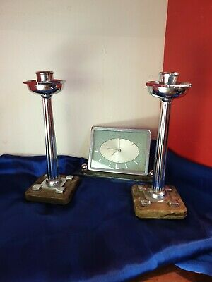 Art deco candlestick holders x 2 plus a clock marked foreign (not working)