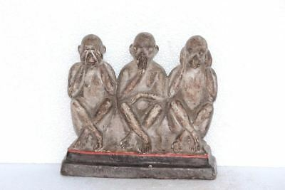 Clay Figures Gandhi's Three Wise Monkey Old Vintage Antique Home Decorative J-66