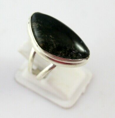 7 Gr Moss Agate Stone Silver Overlay Handmade Jewelry Ring-G-403-19