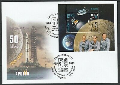 Moldova 2019 Space, Apollo 11 50th Anniversary Moon Landing FDC