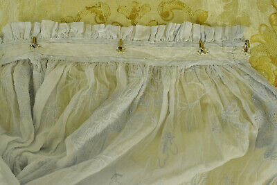 Sublime PAIR Antique French Fine Muslin, Cornely Lace Curtains / Drapes, 19th C