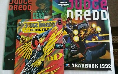 3 x 90s JUDGE DREDD COLOUR COMIC BOOKS - TALE OF THE DEAD, YEARBOOK 92, FILE 4