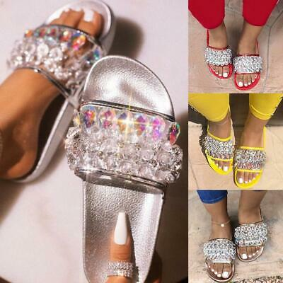 Ladies Womens Flat Studded Cage Diamante Summer Slider Sandals Shoes Size  Good