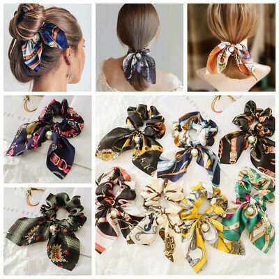 Women Girl Solid Floral Bow Scrunchie Hair Band Hair Ties Rope Scarf Accessories