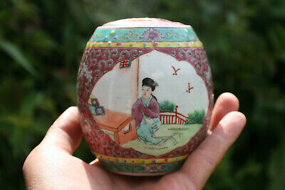 20th C. Small Chinese Porcelain Hand Painted Picture Pink Pot with Lid - Marks