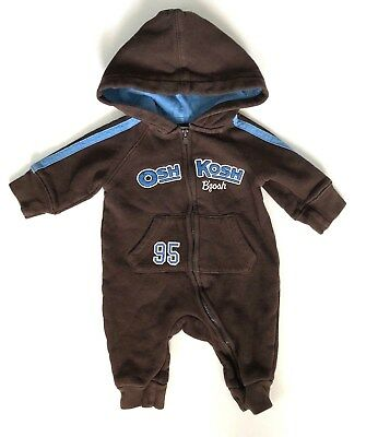 Oshkosh Bgosh Baby Boys Size 3 Months Brown Winter Bunting Outfit Hooded