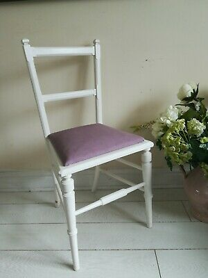 Antique White Bedroom Chair lilac padded seat