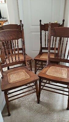 4 Antique Oak Pressed Back Chairs With Caned Seats - Set Of 4