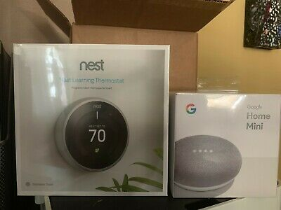 Nest T3007ES Learning Thermostat with Free google home mini