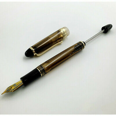 Wing Sung 699 Translucent Brown Vaccum Filling Fountain Pen Fine Nib