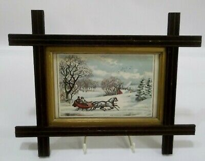 "1972 Vintage Currier /& Ives /""THE ROAD WINTER SLEIGH/"" Color Print Lithograph"