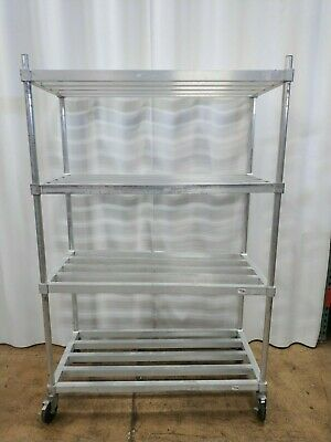 New Age Ind., 4 Tier Aluminum Heavy Duty Rack w/ Casters. Adjustable Shelves