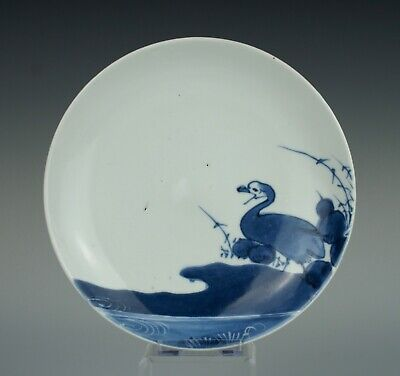 Good 17thC Japanese Arita porcelain dish with a goose and wax resist decoration