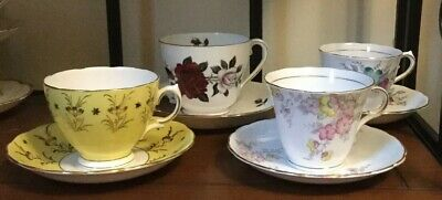 Vintage Colclough Bone China England Lot Of 4 Asst. Matched Tea Cup/Saucer Sets