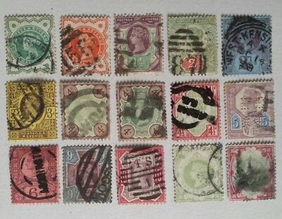 SG197-SG214 Set of 15 QV JUBILEE STAMPS - In Mixed Average Heavy Used Condition.