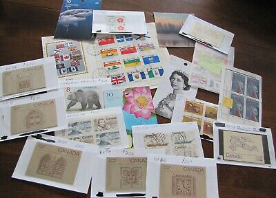 Canadian stamps including back of book, First Day Cover, and high value stamp