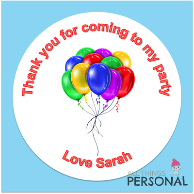 Personalised Birthday Stickers Thank You for Coming To My Party Sweet Cone Seals