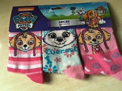 BNWT New Pack of 3 Pairs Paw Patrol Socks Child's Size 12½-2 EUR 31-34