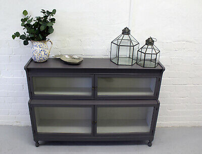 Small low grey painted glass cabinet tv television display unit