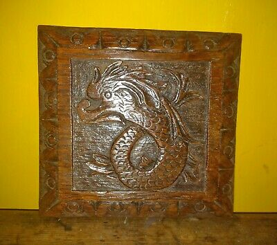 17th Century Charles I Carved Oak Dolphin Panel Boss c1640