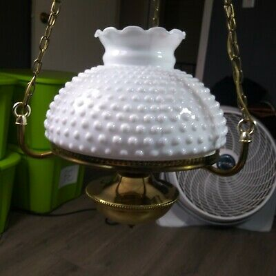 Hobnail Milk Glass Shade Brass Ceiling Hanging Light Fixture Vintage mint