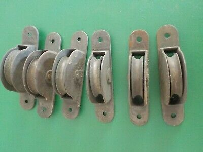 Vintage Lot of 6 Cast Metal Window Sash Rope Weight Roller Pulleys (EB)
