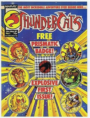 Thundercats #1 March 1987 With Free Gift Prismatic Badge Marvel Uk