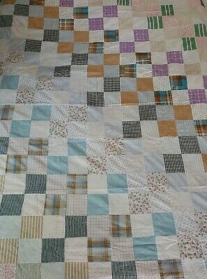 Vintage Quilt Top Cotton Shirting Feedsack? Squares Queen Sized handmade cutter