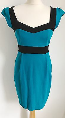 FCUK French Connection Teal Blue And Black Body Con Dress Zip Up Back Size 12