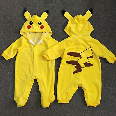 Newborn Baby Infant Kids Jumpsuit Romper Bodysuit Pokemon Pikachu Hooded Pajamas