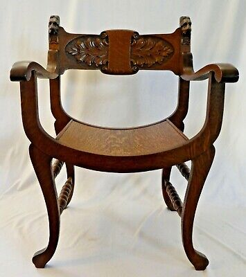 "Antique STOMPS BURKHARDT CO Carved Oak North Wind ""ROMAN CHAIR"". Dayton,OH 1895"