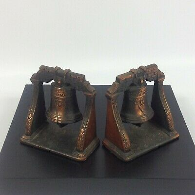 Bookends Cast Bronze Brass Liberty Bell Pass & Stow Book End Door Stop Vintage