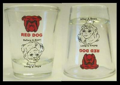 Very Nice Set of 2 Before 6 Beers Red Dog 1 1/2 oz. Shot Glass