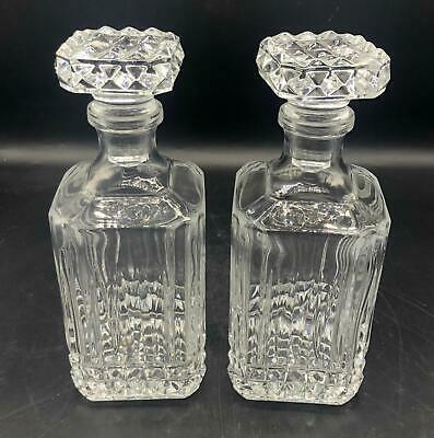 Pair of Glass Whiskey Decanters - Diamond Pattern