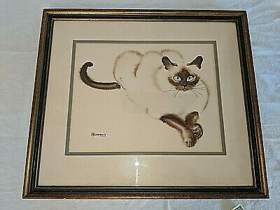 Gorgeous Siamese Cat Watercolor Painting Signed S. Finkenberg. Framed