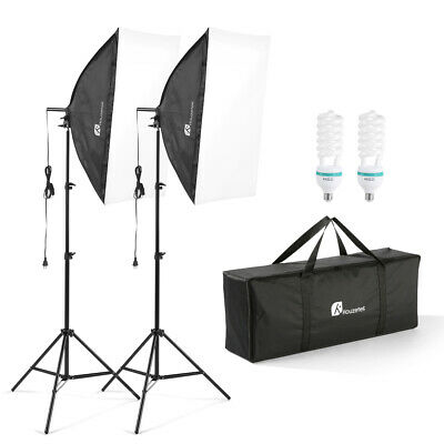 Photography Studio Backdrop Softbox Umbrella Bulb Lighting Kit Background Stand