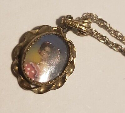 "Vintage Sterling silver 24"" long chain with hand painted portrait pendant"
