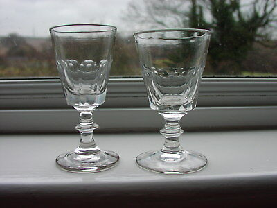 Antique Small Clear Wine/Port Glass With Cut Fluted Bucket Bowls   x 2