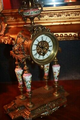 Stunning Antique Clock Pink Hand Painted