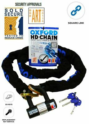 Oxford HD Chain & Lock  Motorcycle Motorbike Scooter SOLD SECURE 9.5mm x 1.5m