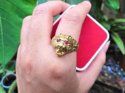 Saint Tiger Ring Golden Red Eyes Magic Amulet Brass Life Protection Power Wealth
