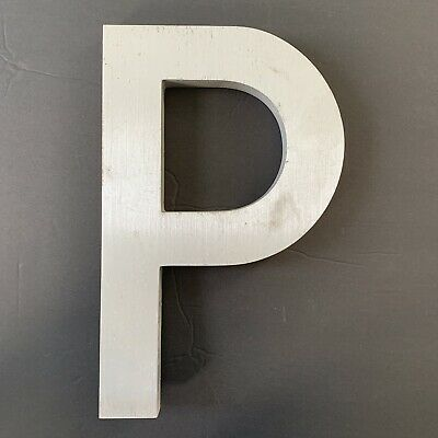 "Letter P Vintage Industrial Salvage Sign Cast Aluminum Metal 12"" Outdoor"