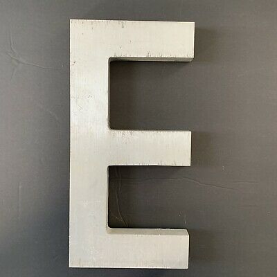 "Letter E Vintage Industrial Salvage Sign Cast Aluminum Metal 12"" Outdoor"