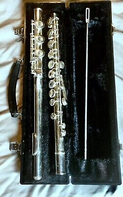 Yamaha YFL385 Intermediate Flute Silver Case Cleaner Pristine Open Hole