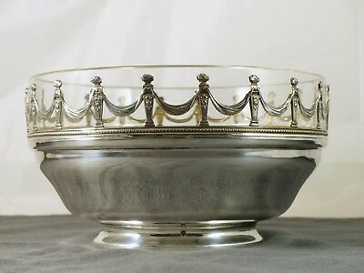 Antique French Fruit Bowl Dish Crystal & Sterling Silver 925 Corbeille Plat