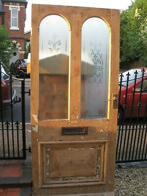 Victorian Edwardian Period Old Reclaimed Etched Glass Antique Pine Front Door