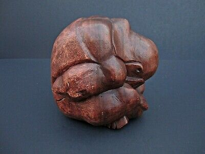 "Hand Carved Wooden Weeping Buddha Crying Man Sculpture Solid Wood Figure 6"" x 6"""